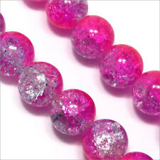 Pack Von 20 Perlen Krakelee aus Glas 12mm Zweifarbig Fuchsie