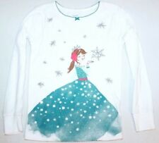 Carters Girls Size 5 Snow Princess Top Long Sleeve White Shirt Sparkle Snowflake