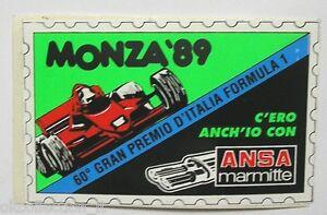 VECCHIO ADESIVO ORIGINALE / Old Sticker F1 60° GP D'ITALIA Monza 1989 (cm 11x7).