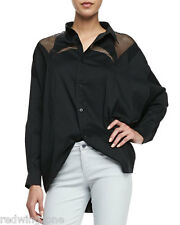 HOT!SEXY! Robert Rodriguez Net-Inset Black Oversized Poplin Shirt/ Blouse,Size 4