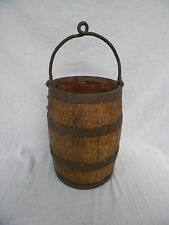 Old Vintage Antique Wood & Iron Well Bucket Primitive Oak Barrel Wooden