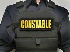 "3x8"" CONSTABLE Gold On Black Tactical Hook Plate Carrier Patch Badge SWAT Police"