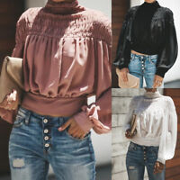 Women Fall Solid Blouse Turtleneck Ruched Lantern Long Sleeve Shirt Loose Tops