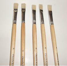 """Chenille Kraft 12"""" Long Handle #6 Brush 3/8''  3/4 long White Hair Set of 5"""