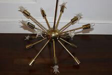 Vtg Mid Century Modern / Hollywood Regency Brass Sputnik Chandelier Light