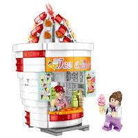 280pcs City Ice Cream Shop Building Blocks Figures Street View Toys Bricks Gifts