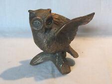 Vintage bronze cast metal owl statue figurine