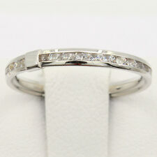 Wedding Ring Band 14K Gold Finish Round channel set Eternity Endless Anniversary