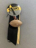 1940s Vintage Button Pinback ARMY Black Gold Gray with Ribbon and Football