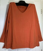 J Jill women Plus size 2X stretch V-neck tunic top long sleeve Pima cotton New
