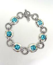 EXQUISITE Silver Cable Rings Teal Blue CZ Crystal Links Toggle Bracelet