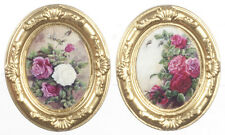 2 Oval Gold Framed Pictures Of Flowers, Dolls House Miniature Wal Decor