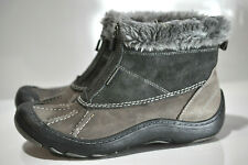 Clarks Privo Womens Grey waterproof suede leather zip up boots size 7M