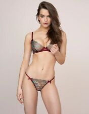 Agent Provocateur SPARKLE BRA 32B & THONG AP Size 2 in BURGUNDY FLORALS - BNWT