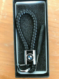 Braided Leather Hand Made Logo Emblem Rope Cord Key Chain for BMW
