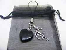Natural Black Obsidian Heart & Moon Fairy Mobile Phone / Handbag Charm