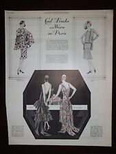 1929 Cool Frocks As Worn In Paris Fashion Designs Advertisement