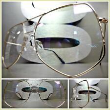 OVERSIZE Insane Crazy VINTAGE RETRO Style Clear Lens EYE GLASSES Huge Gold Frame