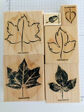 Lovely Leaves Retired Stampin' Up! partial set 5 of 6 + acorn wood rubber stamps