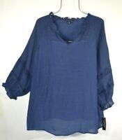 Zac & Rachel Navy Blue 3X Peasant Blouse Shirt Prairie Ruffle Lace Boho Top NWT