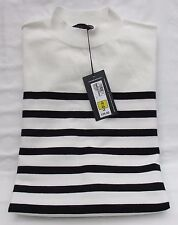 LADIES MARKS AND SPENCER CREAM AND NAVY STRIPED SLEEVELESS LONG JUMPER SIZE 16