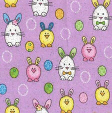 "FAT QUARTER EASTER ANIMALS& PAINTED EGGS ON LAVENDER FABRIC 100% COTTON 18""X22"""