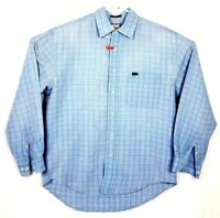 Mens Faconnable Plaid Shirt Cotton Long Sleeve Check Blue Brown Cream Medium
