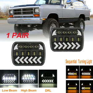 "Pair 7X6"" LED Headlights Sequential Turn Halo DRL For Dodge W250 D350 Ram Dodge"