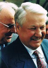 """Russia Boris Yeltsin 1931-2007 & Helmut Kohl 1930-2017 autograph 8""""x12"""" photo"""