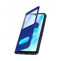 Housse Coque Double Fenetre Bleu protection anti choc pour Huawei P30 Lite