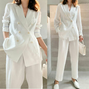 Women Linen Summer Trousers Suits Casual Double-breasted Work Office Tuxedos