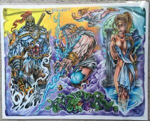 "Tattoo Flash Single Sheet Print by William Webb Zeus Medusa Greek Gods 11"" X 14"""
