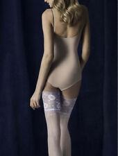 White Lace Top Hold-up Stockings With Seams & Floral lace, Ideal Bridal in S,M,L