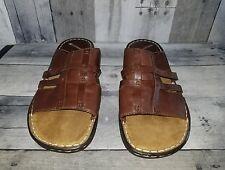 Naturalizer Women's Size 9 1/2 Wide Brown Leather Sandals Slides Slip On Winger