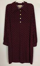 Michael Kors Navy Blue Red Print Long Slit Cold Shoulder Sleeve Shirt Dress 2X