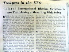 1945 newspaper 1st INTEGRATED ALL WOMEN'S BAND in the US play JAZZ & SWING MUSIC