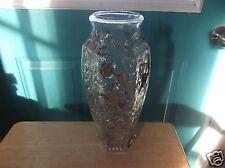 Vintage Goofus Glass Floral Design 12 1/4-Inch Vase with Almost Full Color Loss