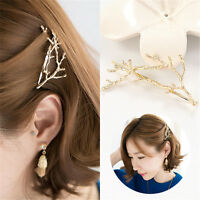 2pcs Girls Women Metal Branch Leaves Hairpin Bobby Pin Hair Clip Accessories