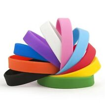 SILICONE WRISTBANDS RUBBER PLAIN REUSABLE FOR EVENTS CHARITY ID FASHION BANDS