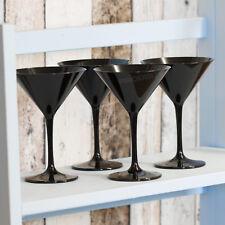 Set of 4 Black Plastic Martini Cocktail Glasses Wine Champagne Saucers Wedding
