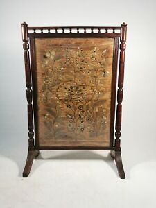 Antique 19th Century Rosewood Fire Screen With Embroidered Arabic Silkwork Panel