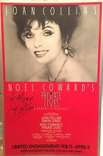 Joan Collins Signed PRIVATE LIVES Broadway Poster Windowcard