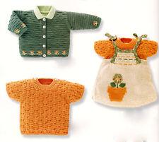 Baby/Girl Spring Flowerpot ~ Jacket Dress Pullover 6mt- 2 yr ~ Knitting Pattern
