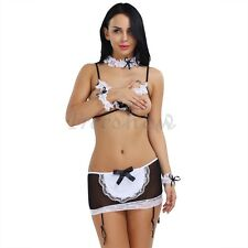 5Pcs Womens Sexy Lingerie French Maid Costume Bra Set Cupless Halloween Outfit