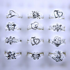 Wholesale Lots 10 Pcs 925 Solid Silver Mixed Style Flower Rings Size 6 to 8