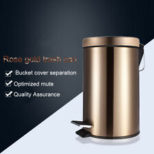 Round Stainless Steel Trash Can Wastebasket Garbage Container Bin New for Home