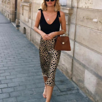 Stunning Leopard Print Midi Par Skirt Dress Multiple Sizes Realisation