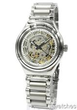 New Swatch Irony Uncle Charly Steel Automatic Mid-Size Watch 38mm YAS112G $190