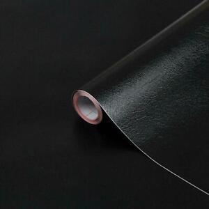 2m x 45cm MAKEOVER BLACK LEATHER SELF ADHESIVE WRAP STICKYBACK PLASTIC FABLON