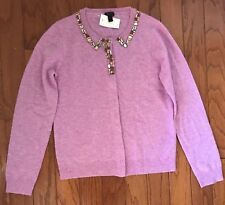 NEW J. CREW CREWCUTS GIRLS' JEWELED CASHMERE CARDIGAN IN LILAC SZ 16 $188 C0392
